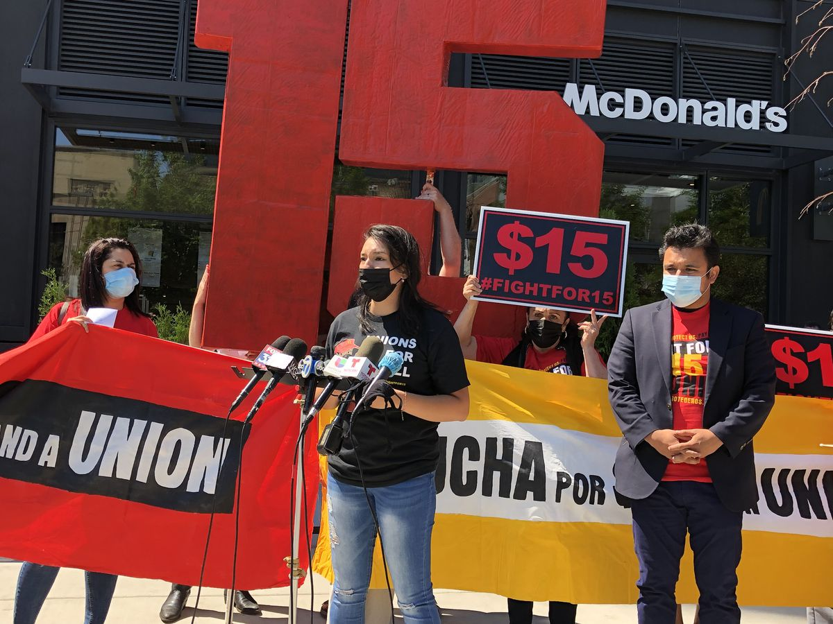 Adriana Alvarez was among the McDonald's employees who spoke at a rally in front of the fast-food company's corporate headquarters in the West Loop on Thursday, July 1, 2021.