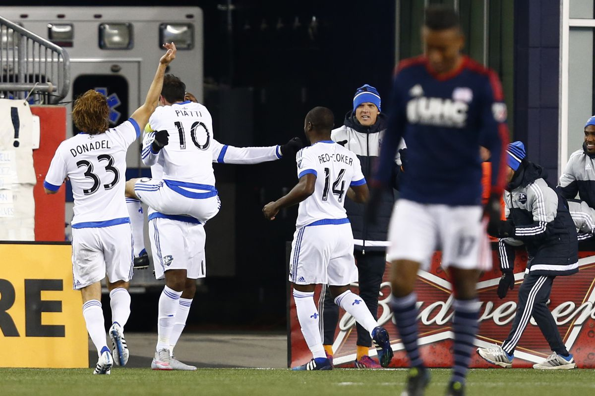 Piatti and his teammates celebrate his goal in IMFC's 1-0 win over New England.