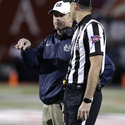 Utah State head coach Matt Wells in the second half during the Arizona Bowl NCAA college football game against New Mexico State, Friday, Dec. 29, 2017, in Tucson, Ariz. New Mexico State defeated Utah State 26-20 in overtime. (AP Photo/Rick Scuteri)