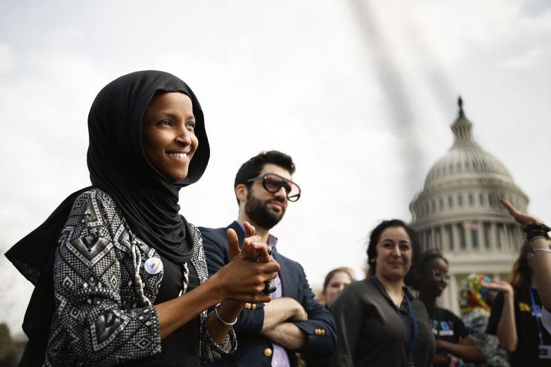 Rep. Ilhan Omar (D-Minn) attends a Youth Climate Strike in Washington D.C., on March 15, 2019.
