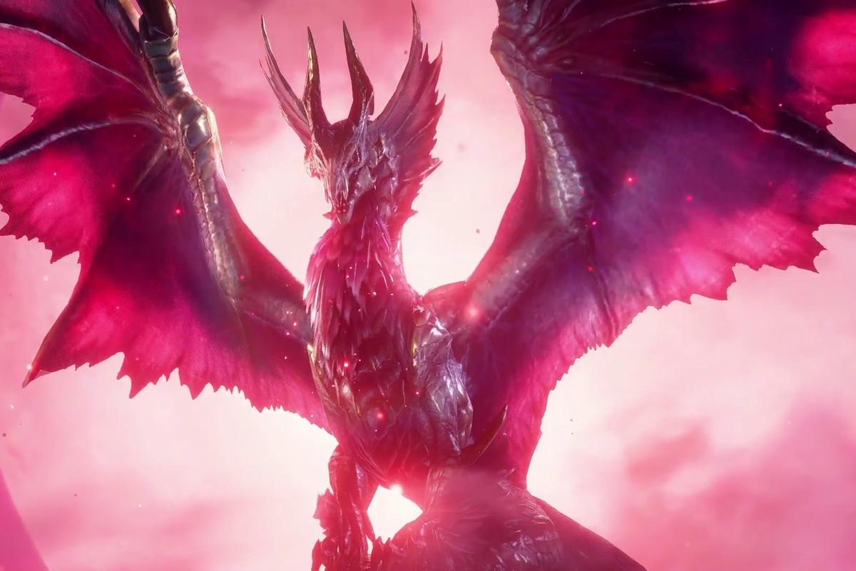 a dragon spreading its wings in Monster Hunter Rise: Sunbreak