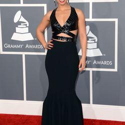 Alicia Keys in strappy Alaïa.