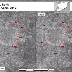 This satellite image posted on the U.S. Embassy Damascus Facebook page Saturday, April 7, 2012, purports to show the presence of Syrian armoured vehicles in Idlib, Syria on April 5, right, next to imagery of the same area on April 4, left, according to information shown on the U.S. Embassy Damascus Facebook page. Syrian government shelling and offensives against rebel-held towns killed dozens of civilians across the country on Saturday, activists said, as the U.S. posted online satellite images of troop deployments that cast further doubt on whether the regime intends to comply with an internationally sponsored peace plan.