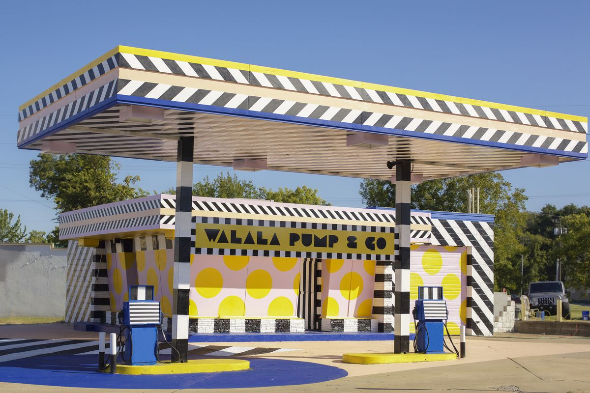 Gas station painted in colorful pattern