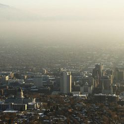 Air quality suffers as an inversion covers the Salt Lake Valley on Jan. 23, 2014.