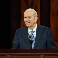 President Russell M. Nelson speaks during the women's session of the 190th Semiannual General Conference of The Church of Jesus Christ of Latter-day Saints on Saturday, Oct. 3, 2020.