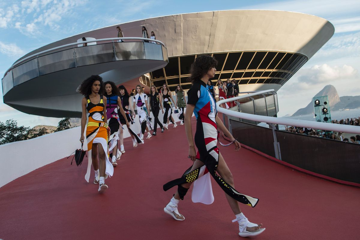 Models on the runway for Louis Vuitton's show in Brazil.