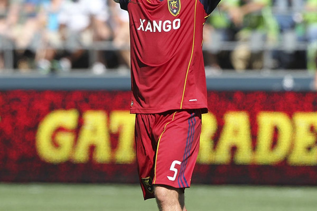 SEATTLE - SEPTEMBER 10:  Kyle Beckerman #5 of Real Salt Lake reacts after his team defeated the Seattle Sounders FC 2-1 at CenturyLink Field on September 10, 2011 in Seattle, Washington. (Photo by Otto Greule Jr/Getty Images)