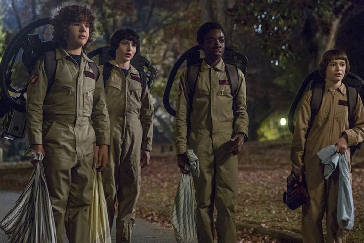 The Stranger Things kids, in costume as Ghostbusters