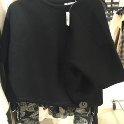 T by Alexander Wang cropped scuba sweater, size medium, $51.60 (was $215)