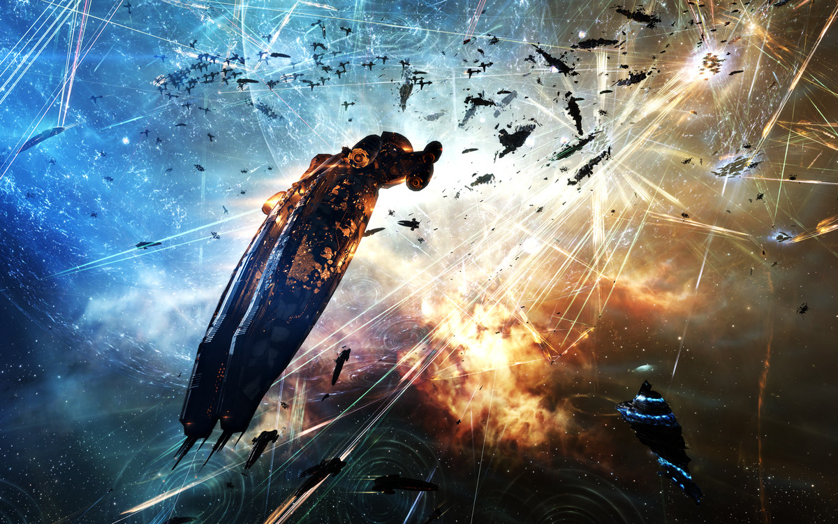 A single, large, player-owned ship flees a conflagration around a player-owned structure. Explosions erupt in its wake.