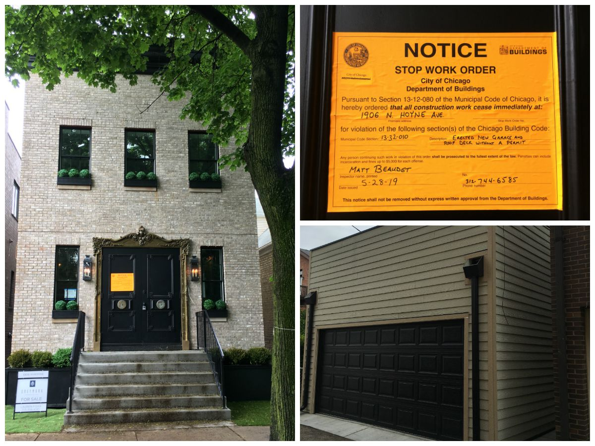 """The city of Chicago has issued a stop-work order this property at 1906 N. Hoyne Ave., which was featured on """"Windy City Rehab."""" The order says the developers didn't have permits to build the garage."""