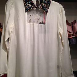 Embellished-collar blouse, $79