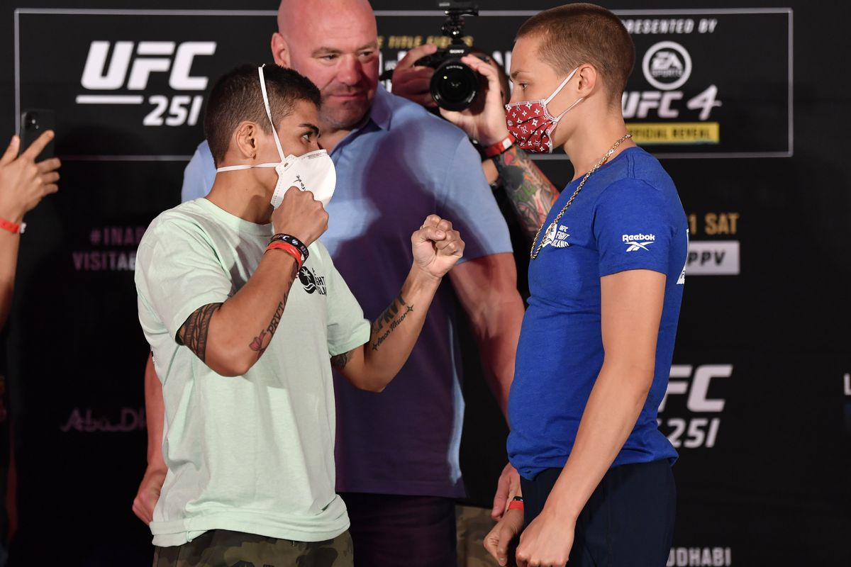 In this handout image provided by UFC, opponents Jessica Andrade of Brazil and Rose Namajunas face off during the UFC 251 official weigh-in inside Flash Forum at UFC Fight Island on July 10, 2020 on Yas Island Abu Dhabi, United Arab Emirates.UFC 251 Usman v Masvidal: Weigh-Ins