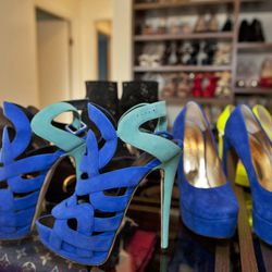 Giuseppe Zanotti two-tone suede platform sandals, $1,150.