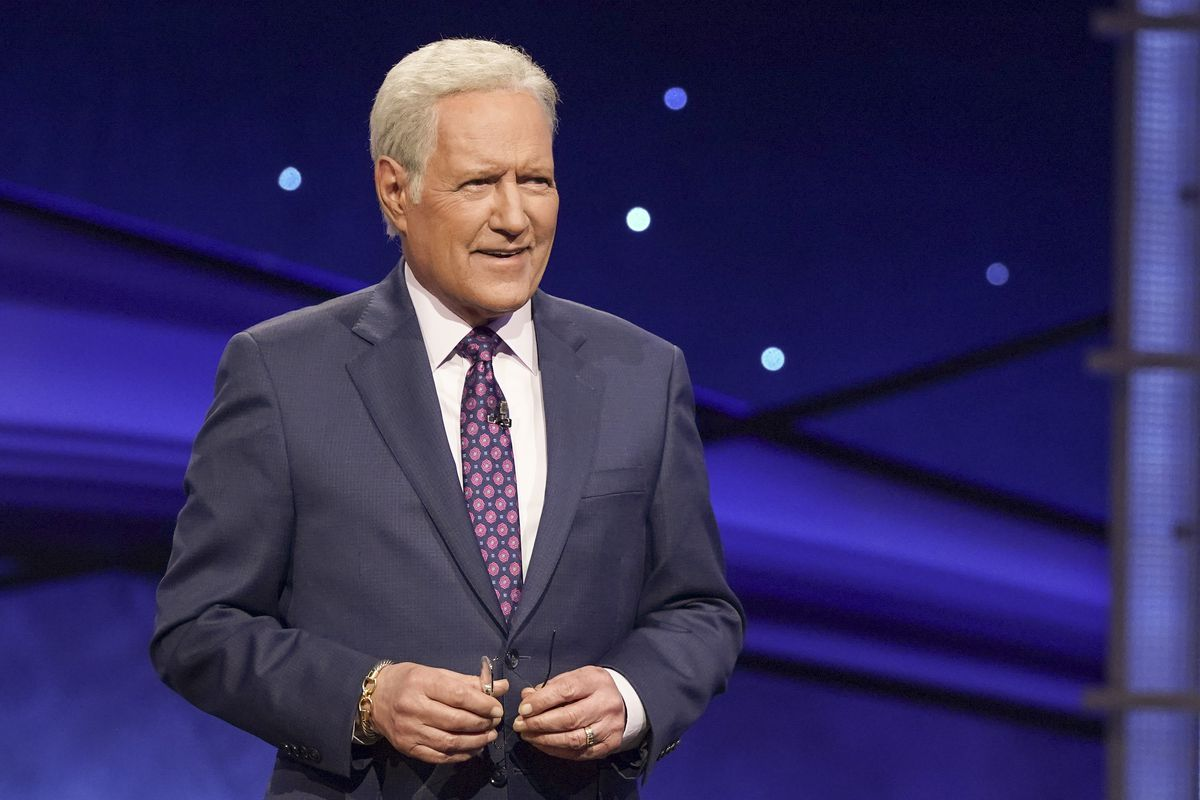 """Alex Trebek on the set of ABC's """"Jeopardy! The Greatest of All Time"""""""