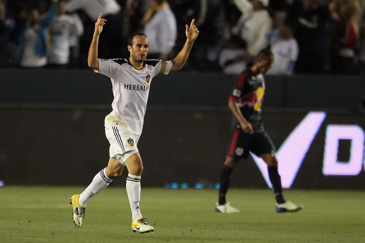 CARSON, CA - MAY 07:  Landon Donovan #10 of the Los Angeles Galaxy celebrates a goal in the first half against the New York Red Bulls at The Home Depot Center on May 7, 2011 in Carson, California.  (Photo by Jeff Gross/Getty Images)