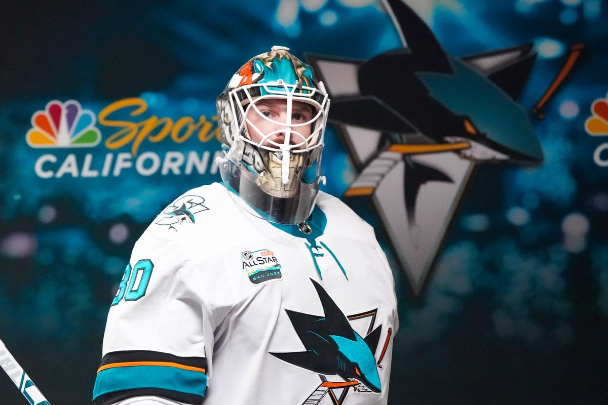 Oct 26, 2018; Raleigh, NC, USA; San Jose Sharks goaltender Aaron Dell (30) looks on from outside the locker room before the game against the Carolina Hurricanes at PNC Arena. Mandatory Credit: James Guillory
