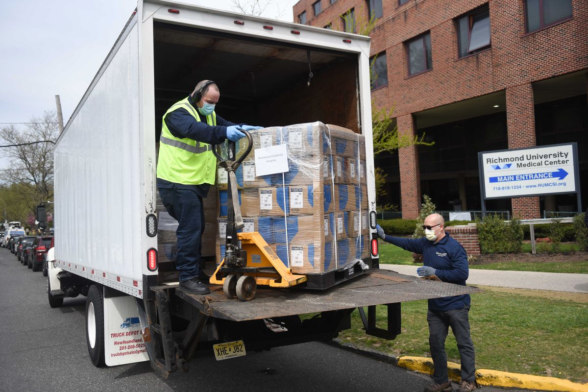The city delivered medical supplies to Richmond University Medical Center, April 20, 2020.