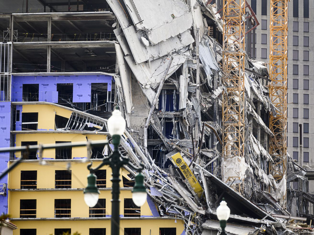 A collapsed building in downtown New Orleans