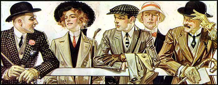 Four men and one woman stand at a railing in natty 1900s fashion. Three of the men and the woman are gazing at the one on the far left. The one on the far left is looking back at the men only.