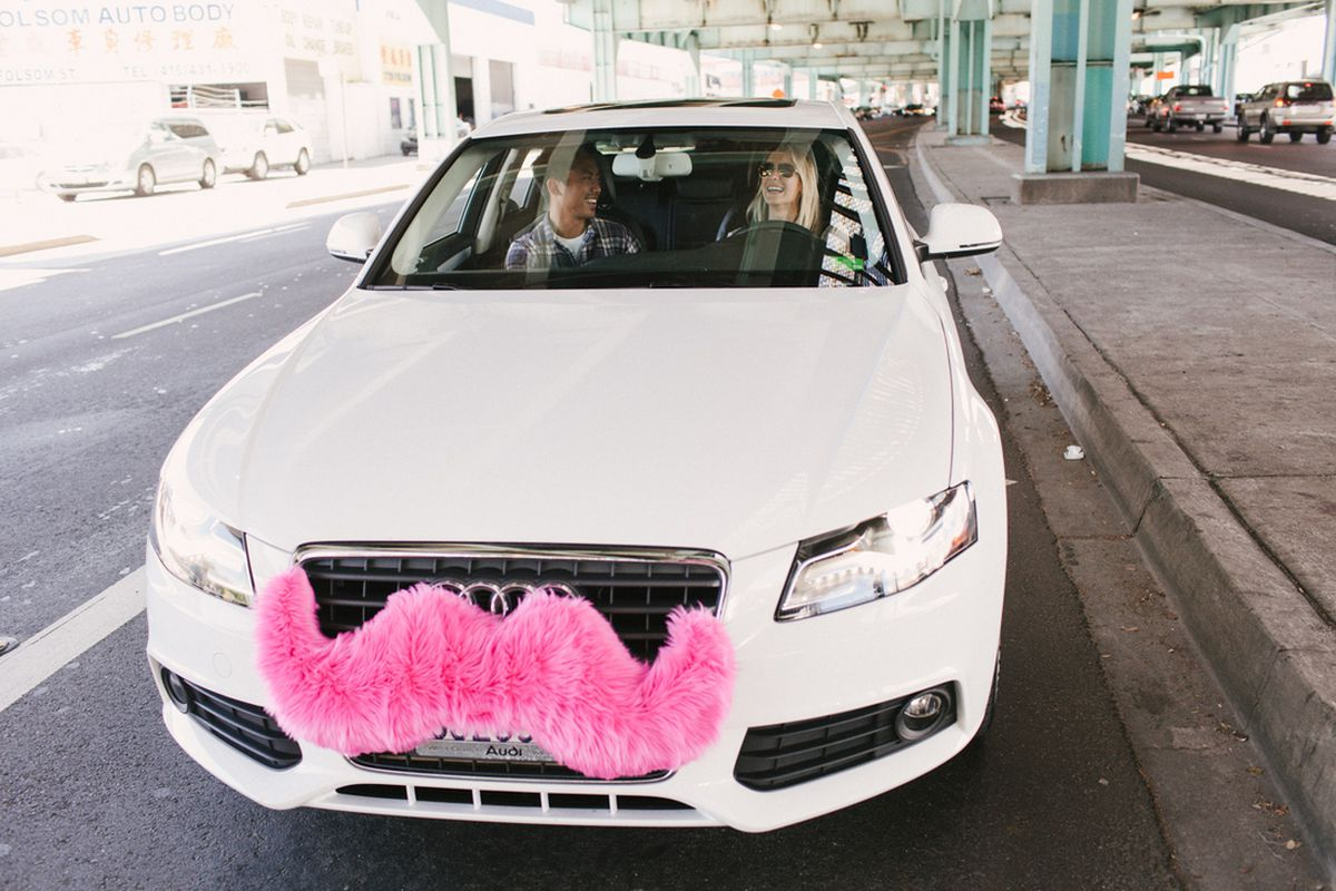 Driver Back To You So Everyone S Looking For The Same Color Said Ethan Eyler Head Of Lyft Ride Experience Division Fuzzy Pink Mustache