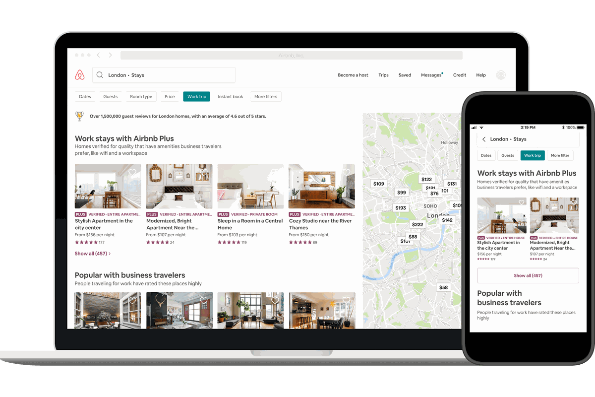 Desktop and phone displays of the new Airbnb work search tool, meant to help users locate properties better suited for business travelers.