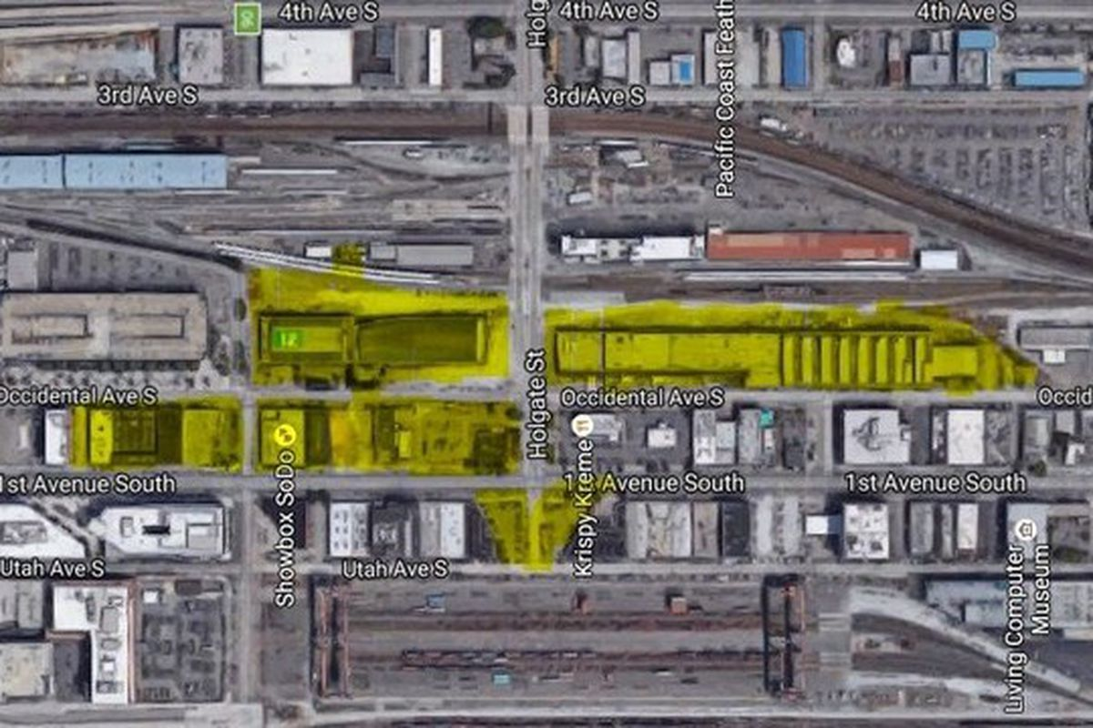 Chris Hansen's SODO land. The new parcel is the large yellow block to the right of S. Holgate St.