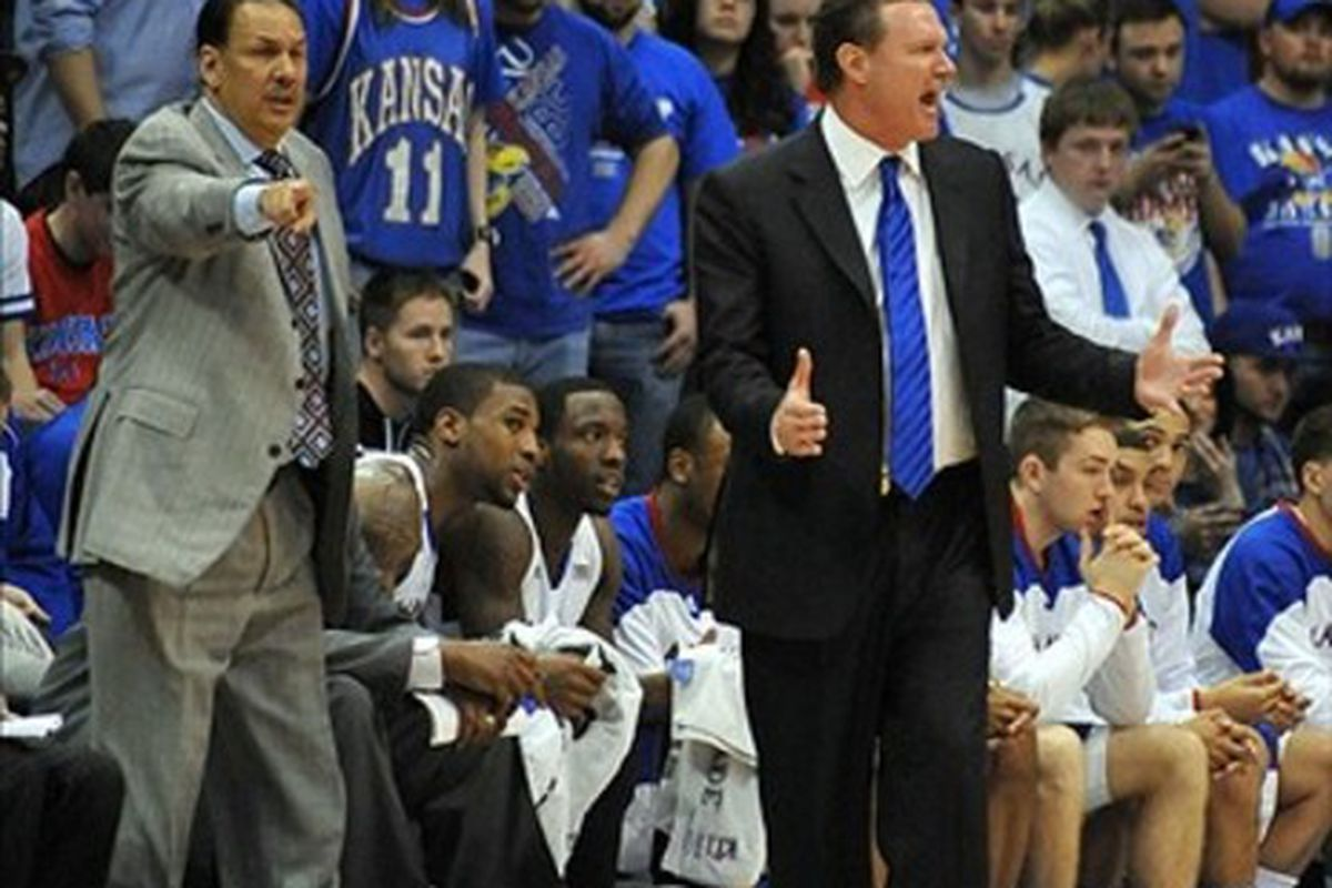 March 03, 2012; Lawrence, KS, USA; Kansas Jayhawks head coach Bill Self reacts to a call in the second half of the game against the Texas Longhorns at Allen Fieldhouse. Kansas won the game 73-63. Mandatory Credit: Denny Medley-US PRESSWIRE
