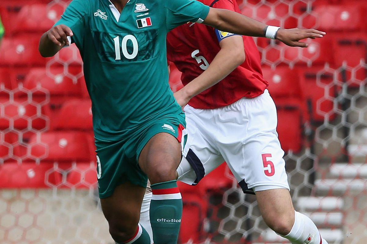 NOTTINGHAM, ENGLAND - JULY 21:  Giovani Dos Santos of Mexico controls the ball during the friendly international match between Japan and Mexico at the City Ground on July 21, 2012 in Nottingham, United Kingdom.  (Photo by David Rogers/Getty Images)