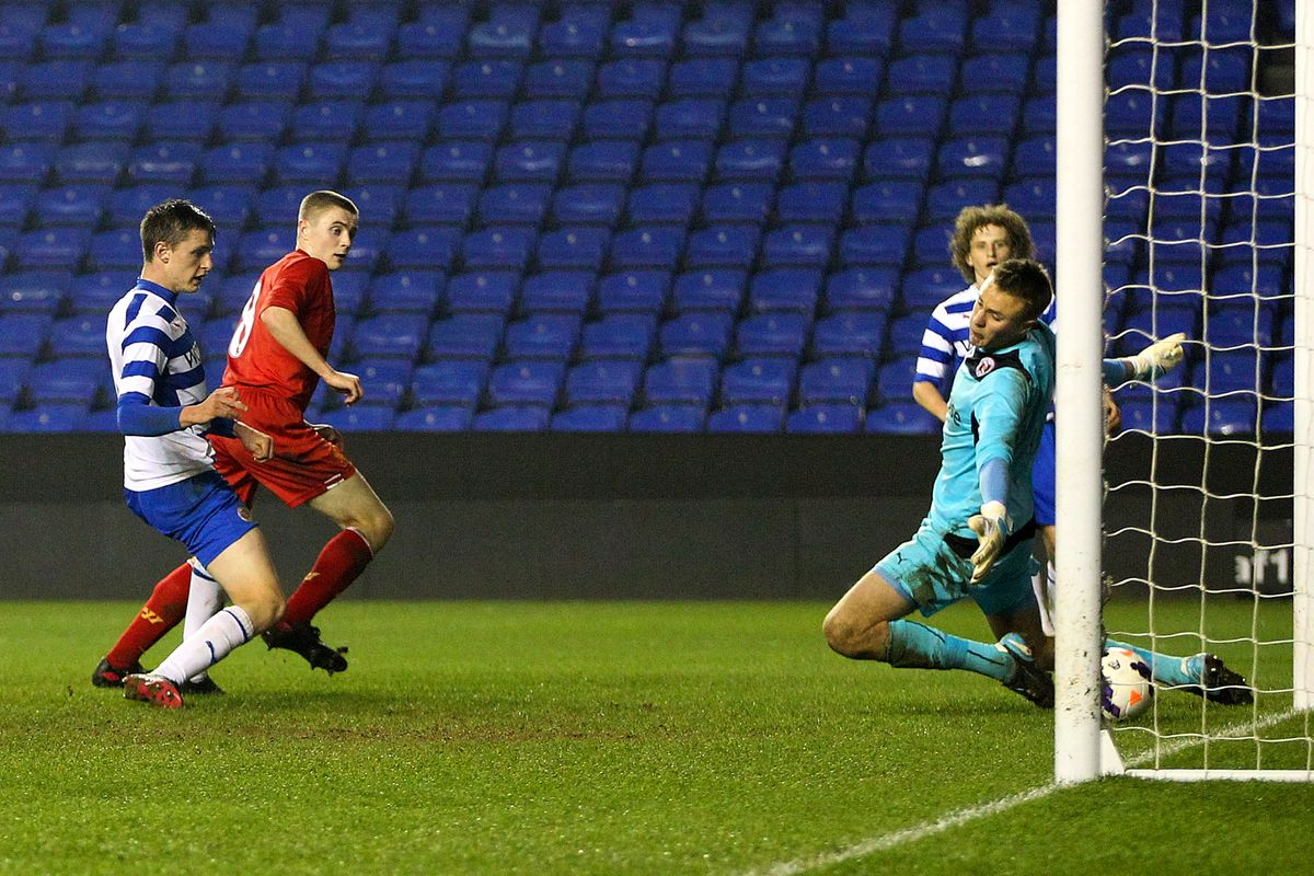 Hyam watches on as Jordan Rossiter's effort beats Lewis Ward in last year's FA Youth Cup