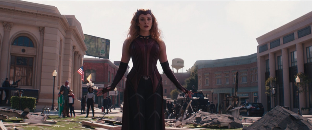 Wanda in full costume as the Scarlet Witch in WandaVision.