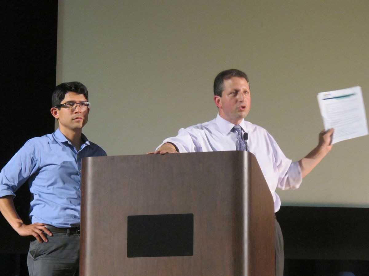 City Council members Carlos Menchaca (left) and Brad Lander hosted a parents forum to discuss diversity in schools on Thursday.