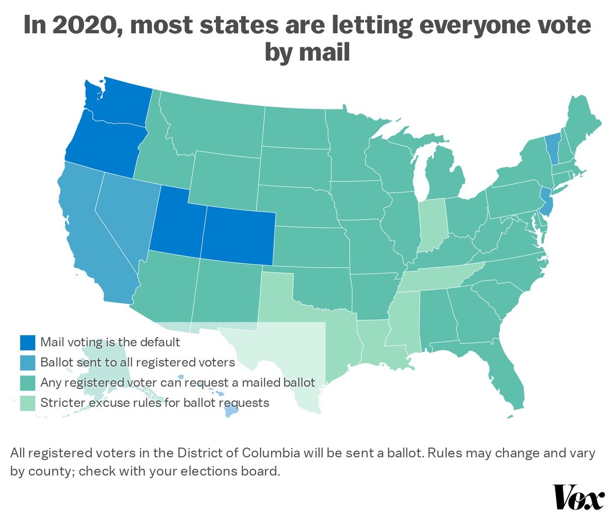 """Map: """"In 2020, most states are letting everyone vote by mail"""""""