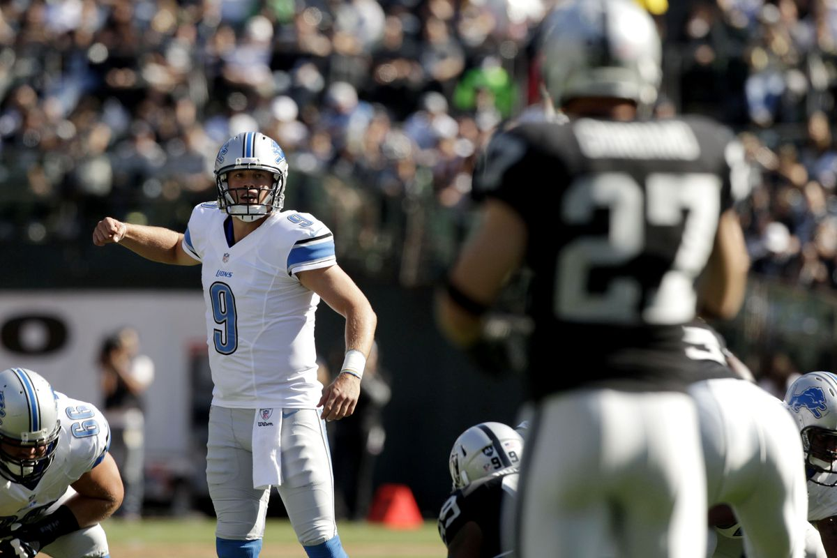 August 25, 2012; Oakland, CA, USA; Detroit Lions quarterback Matthew Stafford (9) calls a play against the Oakland Raiders in the first quarter at O.co Coliseum. Mandatory Credit: Cary Edmondson-US PRESSWIRE