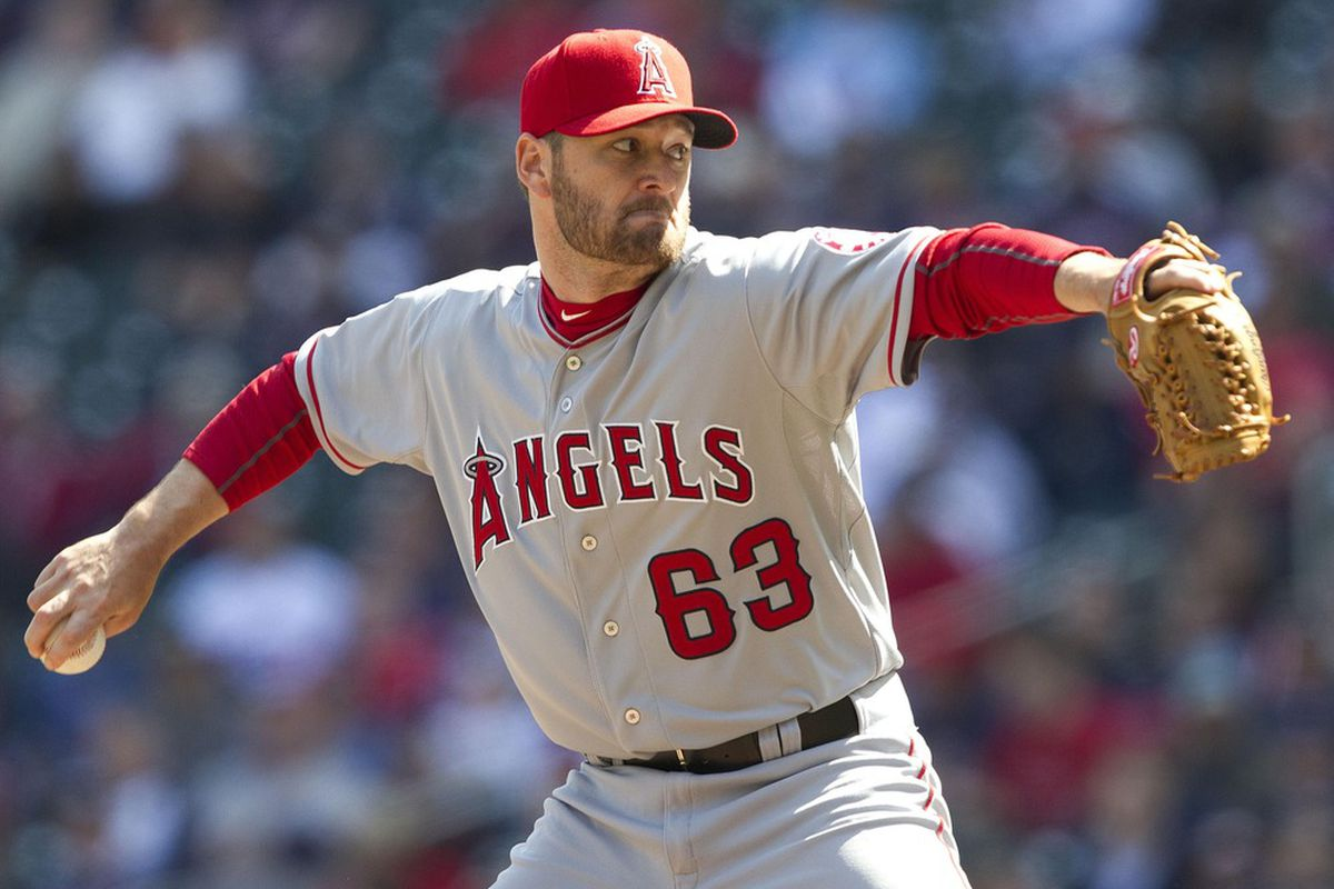Apr 12, 2012; Minneapolis, MN, USA: Los Angeles Angels relief pitcher Rich Thompson (63) delivers a pitch in the seventh inning against the Minnesota Twins at Target Field. The Twins won 10-9. Mandatory Credit: Jesse Johnson-US PRESSWIRE