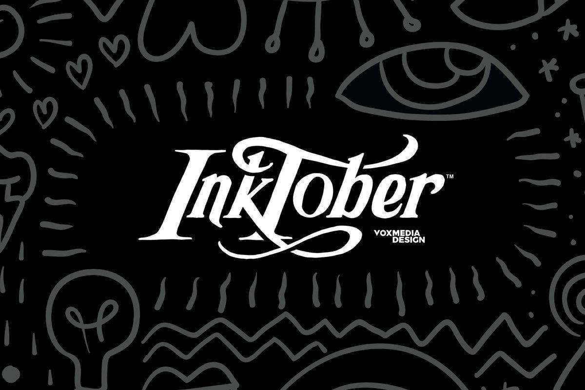 Inktober logo surrounded by random doodles
