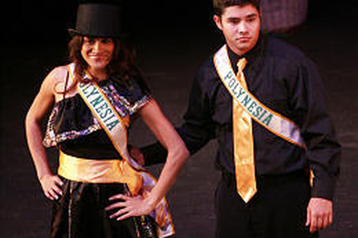 Representing Polynesia, Kiana Chournos and Matthew Yamamoto compete in the Mr. \& Miss UVSC International competition.