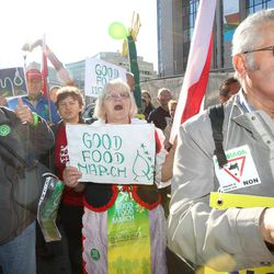 'Good Food Marchers' stage a protest in front of the European Commission headquarters in Brussels, Wednesday, Sept. 19, 2012. Farmers and activists from all over the continent are converging on European Union headquarters to push for a food policy which is kinder to the environment and developing nations.