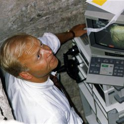 Dr. Kent Richards operates the proctoscope to get images from inside the Salt Lake Temple record stone on Aug. 13, 1993.