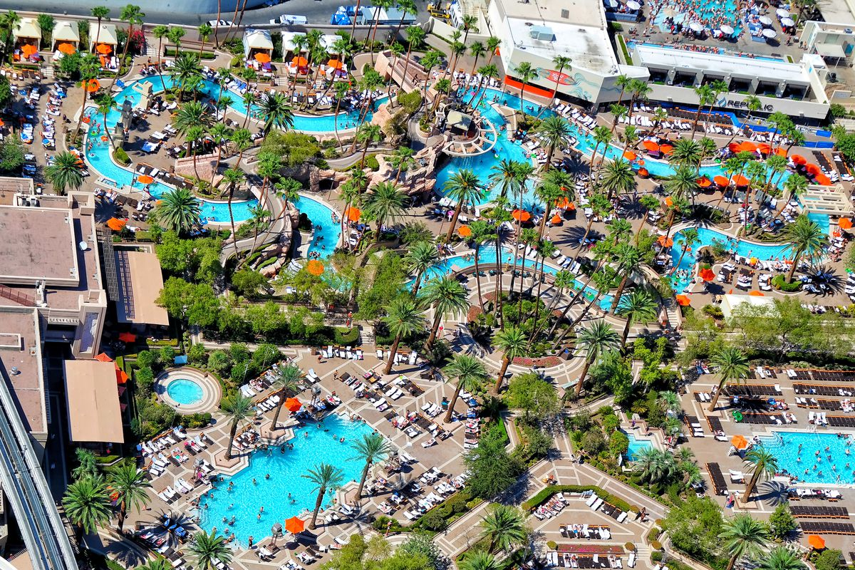 An overhead view of pools