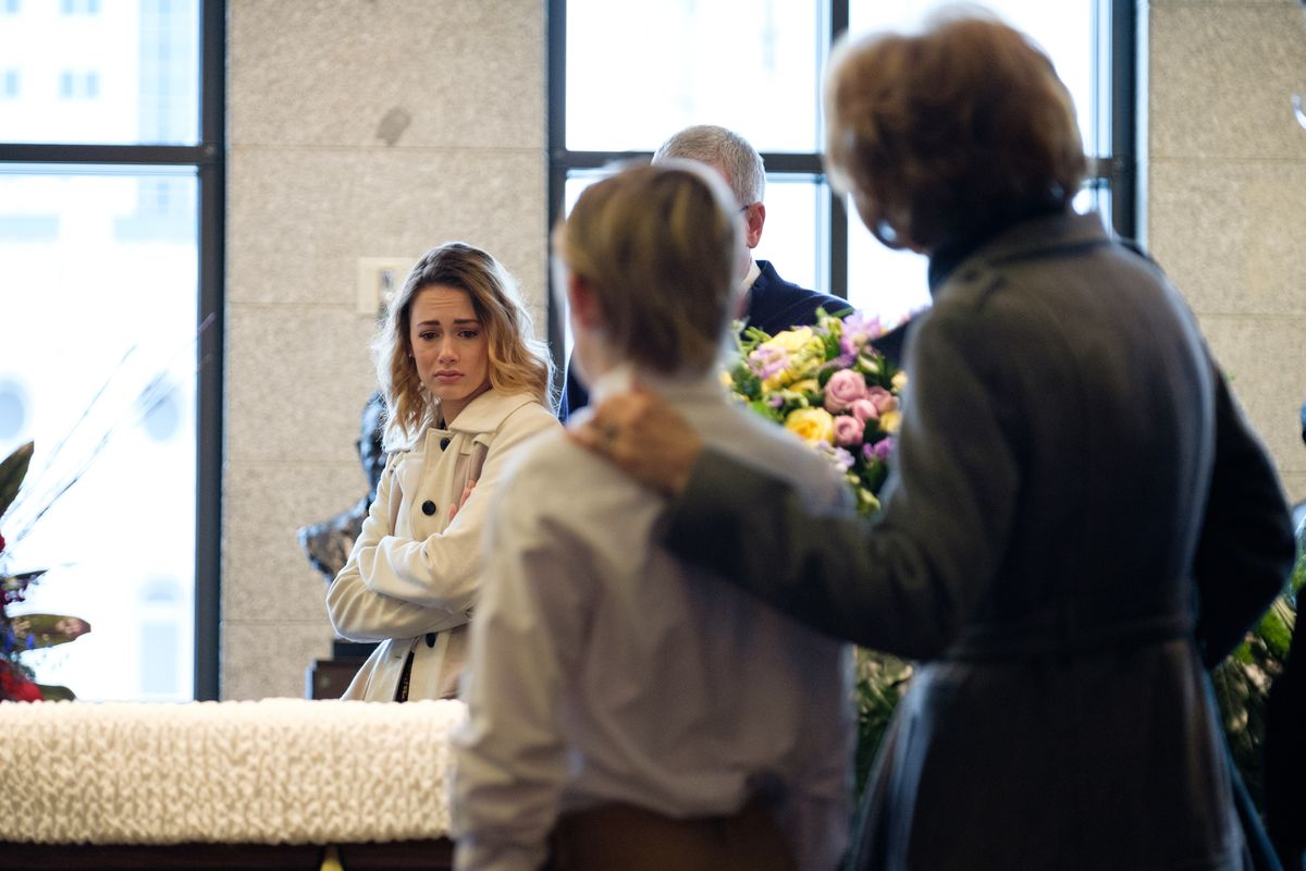 Mourners gather to pay their respects to LDS Church President Thomas S. Monson at his viewing at the Conference Center in Salt Lake City on Thursday, Jan. 11, 2018.