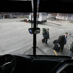Elders Anthony Franklin and John Scoggin board the bus to leave the Provo Missionary Training Center of The Church of Jesus Christ of Latter-day Saints in Provo, Utah Tuesday, Feb. 15, 2011.