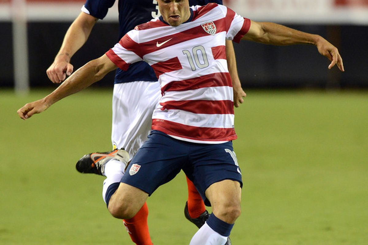 JACKSONVILLE, FL - MAY 26:  Landon Donovan #10 of Team USA, strikes the ball towards the goal against Team Scotland on May 26, 2012 at EverBank Field in Jacksonville, Florida. (Photo by Gary Bogdon/Getty Images)
