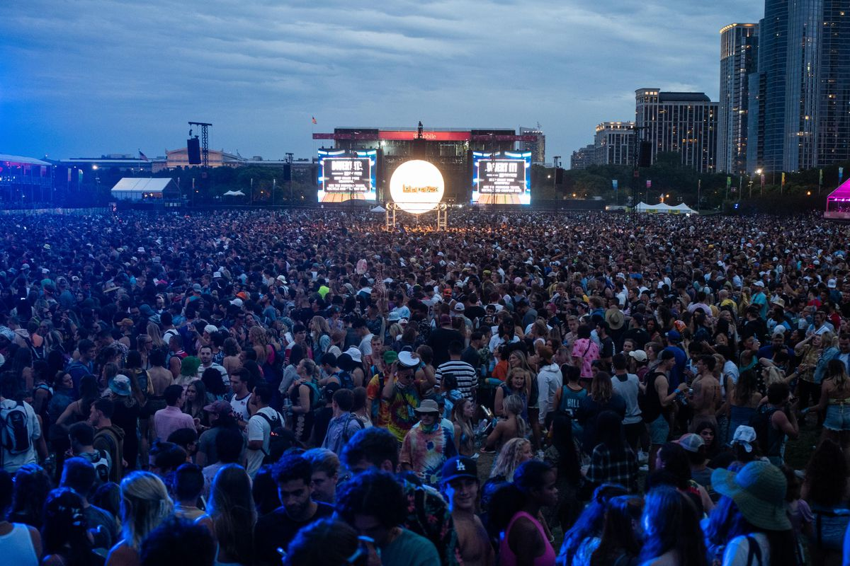 People flock to the T-Mobile stage before Tyler, The Creator's set
