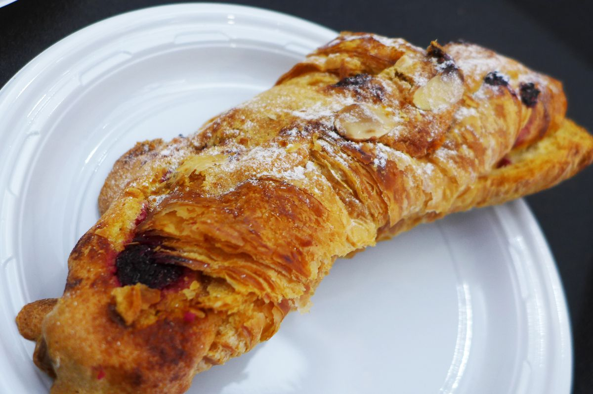 Raspberry croissant at Cannelle