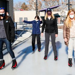 From left, Kate Bradshaw, Kendalyn Harris, Millie Bahr, and Tami Fillmore skate at the new Bountiful Ice Ribbon during its grand opening at Bountiful Town Square in Bountiful on Saturday, Dec. 5, 2020.