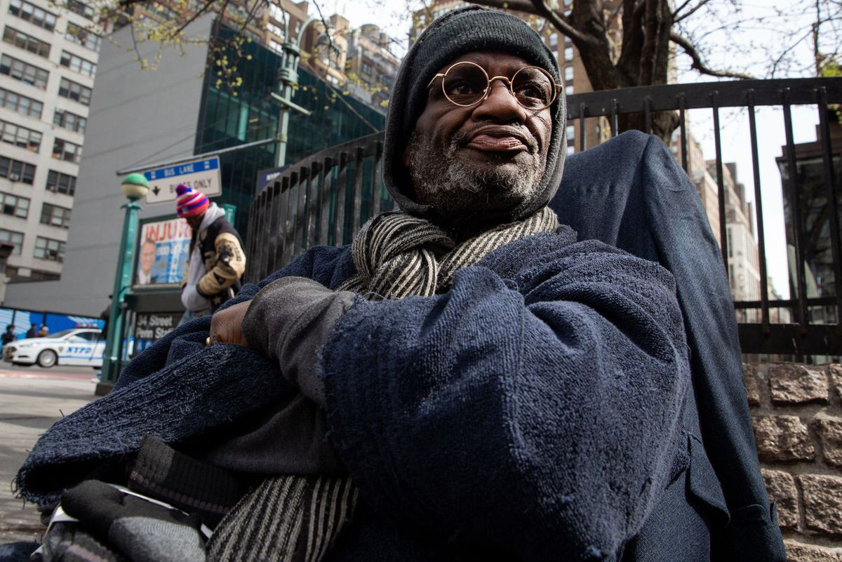 Mark Evans, who is homeless, says he tries to use hand sanitizer during the coronavirus scare.