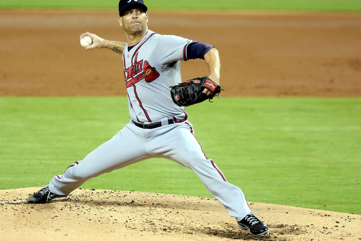 MIAMI, FL - SEPTEMBER 17:  Pitcher Tim Hudson #15 of the Atlanta Braves throws against the  Atlanta Braves at Marlins Park on September 17, 2012 in Miami, Florida.  (Photo by Marc Serota/Getty Images)