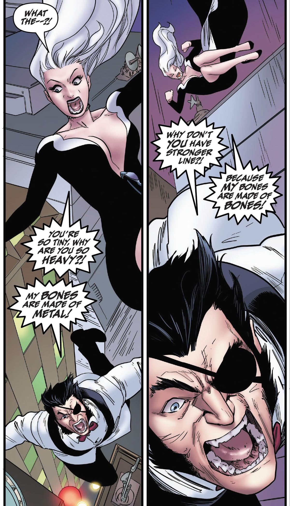 """Black Cat and Wolverine (dressed as his Madriporian alter ego Patch), fall from a great height, while yelling. """"Why are you so heavy?"""" """"My bones are made of metal!"""" """"Why don't you have a stronger line?!"""" """"Because my bones are made of bones!"""" in Black Cat #10, Marvel Comics (2020)."""